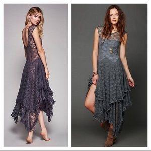 Gray boho hippy courtship lace dress!